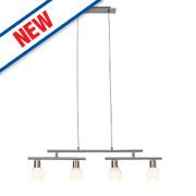 Jalena 4-Light Twin Bar LED Pendant Light Satin Chrome 16W