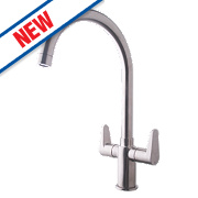 Swirl Rapture Double Lever Mono Mixer Kitchen Tap Silk Steel