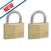 Master Lock Keyed Alike Padlocks Brass 50mm Pack of 2