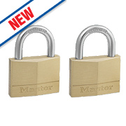 Master Lock Keyed Alike Padlocks Brass 50mm Pack of 2