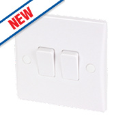 Schneider Electric 2-Gang 2-Way 10AX Light Switch White