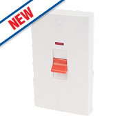 Schneider Electric 2-Gang DP 50A Switch & Neon White
