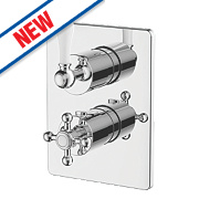 Watersmith Fulham Twin Shower Valve & Diverter Fixed Built-In Chrome