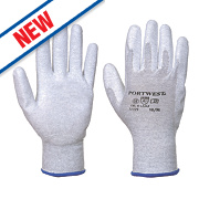 Portwest Anit-Static PU Palm Gloves Grey/White Large