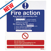 "Nite Glo ""Fire Action"" Notice Sign 300 x 250mm"
