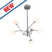 Mirella LED 6-Light Twirl Pendant Ceiling Light Chrome 18W