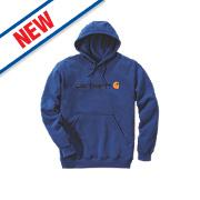 "Carhartt Signature Logo Hooded Sweatshirt Cobalt Blue Large 52"" Chest"