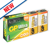 GP Batteries Ultra Alkaline Batteries 9V Pack of 4