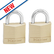 Master Lock Keyed Alike Padlocks Brass 30mm Pack of 2