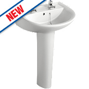 Armitage Shanks Sandringham 21 Full Pedestal Basin 2 Tap Holes 550mm
