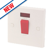 1-Gang 45A Cooker Switch White with Neon