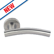 Eurospec Arched Lever on Rose Pair Satin Stainless Steel