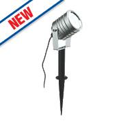 Saxby Luminatra LED Garden Spike Light Silver 5W