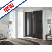 Spacepro 2 Door Framed Glass Sliding Wardrobe Doors Black Glass 1803 x 2260mm