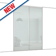 Spacepro 2 Door Framed Glass Sliding Wardrobe Doors White Glass 1803 x 2260mm