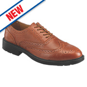 S76SM Brogue Safety Shoes Tan Size 9