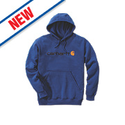 "Carhartt Signature Logo Hooded Sweatshirt Cobalt Blue Medium 48"" Chest"