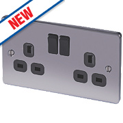 LAP 13A 2-Gang SP Switched Plug Socket Black Nickel