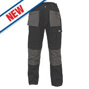 """JCB TradeMaster Work Trousers Black/Grey 32"""" W 32"""" L"""