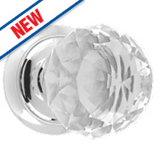 Dempsey & Locke Unsprung Glass Mortice Knobs Pair Polished Chrome 65mm