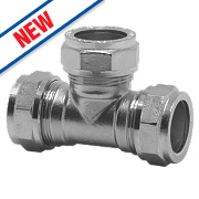 Pegler Prestex PX50CP Chrome-Plated Compression Equal Tee 15mm