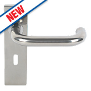 Eurospec Safety Lever on Backplate Lock Pair Polished Stainless Steel