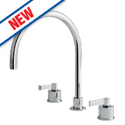 Ideal Standard E0078AA Silver Deck-Mounted 3-Hole Sink Mixer Chrome