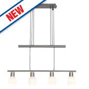 Jalena 4-Light Bar LED Pendant Light Satin Chrome 16W