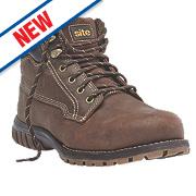 Site Clay Safety Boots Dark Brown Size 7