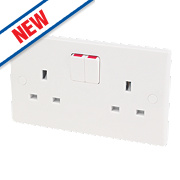 Schneider Electric Ultimate 2-Gang 13A DP Switched Socket White