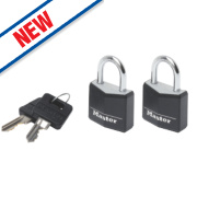 Master Lock Keyed Alike Padlocks Aluminium 30mm Pack of 2