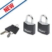 Master Lock Keyed Alike Padlocks Aluminium 30mm Pack of 2