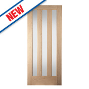 Jeld-Wen Aston 3-Panel Obscure-Glazed Interior Door Oak Veneer 1981 x 762mm
