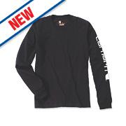 """Carhartt EK231 Long Sleeved T-Shirt Black Medium """" Chest"""