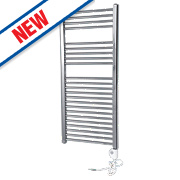 Flomasta Flat Thermostatic Towel Radiator Chrome 1100 x 500mm 351W 1196Btu