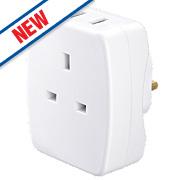 Masterplug 2-Port Plug-Through USB Charging Adaptor 2.1A