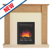 Be Modern Bromley Contemporary Electric Fire Suite Natural Oak Finish 2kW