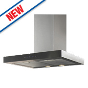 Box Chimney Cooker Hood Stainless Steel & Black Glass 600mm