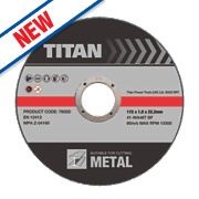 Titan Metal Cutting Discs 115 x 1 x 22.2mm Pack of 3