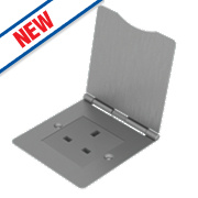 BG 1-Gang Unswitched Brushed Steel Floor Socket