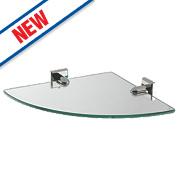 Moretti Linear Chrome Glass Corner Shelf 267 x 267 x 40mm