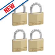 Master Lock Keyed Alike Padlocks Brass 40mm Pack of 4