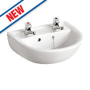 Armitage Shanks Sandringham 21 Full Pedestal Basin 2 Tap Holes 450mm