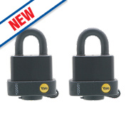 Yale Weatherproof Open Shackle Padlocks Steel 53mm Pack of 2