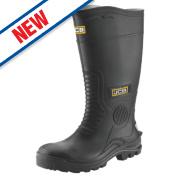 JCB Hydromaster Safety Wellington Boots Black Size 7