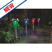 Cole & Bright Gardman Colour Changing Solar Post Lights Stainless Steel Pk4