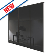 Spacepro 3 Door Framed Glass Sliding Wardrobe Doors Black Glass 2236 x 2260mm