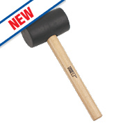 Forge Steel Ash Wood Handle Black Rubber Mallet 16oz