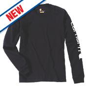 """Carhartt EK231 Long Sleeved T-Shirt Black Large """" Chest"""