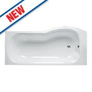 Ideal Standard P-Shape Shower Bath Left Hand Acrylic No Tap Holes 1700mm